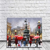 Wholesale Paris Oil Paintings - Framed Christmas Street In Paris DIY Painting By Numbers Drawing By Painting Kits Painting Hand Painted On Canvas For Home Wall Art Picture