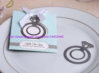 Wholesale Silver Wedding Bomboniere - 100pcs Silver Color With This Ring Metal Engagement Ring Bookmark Bridal Shower Bomboniere Wedding Favors Gift
