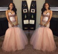 Wholesale peach mermaid prom dresses - 2017 Peach Arabic Black Girl Backless Mermaid Prom Dresses Sequins Blingbling Sweetheart Vintage Aso Ebi Evening Gowns