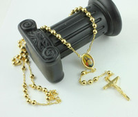 perlenkette jesus großhandel-18K Real Yellow Gold Rosenkranz beten Bead Der Heilige Geist Jesus Kreuz Halskette / Kette in einer Geschenkbox Nicht mit der Rückerstattung zufrieden