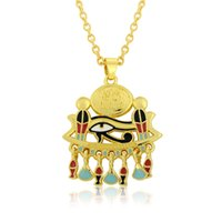 Fashion Mixed Color Distinctive 18k Gold Plated Esmalte único Ojo de Horus Egipto Talisman Collar Collar Joyería