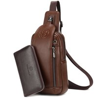 Wholesale Small Sling Shoulder Bags Men - Men's Leather Chest Bag Business Crossbody Shoulder Bags Casual Travel Sling Bag with Earphone Hole C078