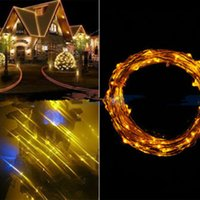 Atacado- 10M 100 LED Copper Wire String Lights Warm White LED Strings para festa de casamento de Natal Powered by 3 AA Battery
