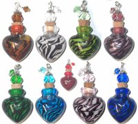 Wholesale Murano Jewelry Oil - Mini Murano Perfume Oil Bottle 1pc Glass Tiger Stripes Animal Print Heart Charms Jar Zebra Jewelry Pendant Vials Home Car Fragrance Ornament