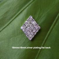 Wholesale Rhinestone Alloy Embellishments - (L0012) free shipping wholesale 10pcs 16mmx20mm diamond shape rhinestone embellishment,silver or gold plating