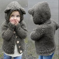 Wholesale Boys Singlets - Christmas Kids Boys and Girls Knit Hooded Cardigans Babies Singlet Breasted Sweater 2017 Girls Autumn Winter Cartoon Outwear