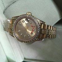 Wholesale 18k Gold Ladies Watch - Luxury Brand 26mm Women Dress automatic Watch Lady Size Diamond Strap 18k Gold Stainless Steel Sapphire Glass Original Clasp Date Watches