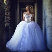 ingrosso palline d'argento sfere-Cristalli Saidmhamad Bling Argento corpetto degli abiti di sfera abito da sposa di Tulle Lace Up Abiti da sposa robe de soiree