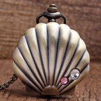 Wholesale Wholesale Unique Dresses - Wholesale-New Arrival Unique Jewelry Bronze Shells Carving Pocket Watch Necklace Pendant Women's Lover Kids Grils Gift P25