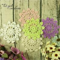 Wholesale Vintage Clothes Accessories - Vintage DIY Multicolor 10cm Flowers Coaster Handmade Crochet Doilies Wedding Table Decor Doily Placemat Clothes Accessories 50pcs lot