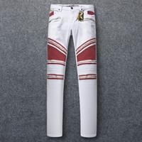 Wholesale Classic Hot Wings - Hot Sale Zipper Jeans Slim Stretch Mens Paris Classic Biker Jeans Denim Trousers With Wings American Flag Plus Size 30-42
