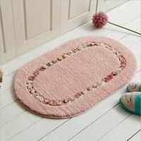 Wholesale Cheap Door Mat - Stock Flower Rose Door Rugs Hall Bedroom Carpets 50cm*80cm Oval Bathroom Carpets Antiskid Mat Absorbent Carpet 2017 Cheap tea table Carpets
