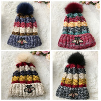 Wholesale Little Girls Knitted Hats - New style Little bee Knitted cap for women Stereo jacquard cap Add cashmere winter warm knitting cap Thickened wool hats