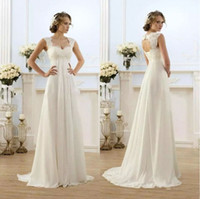 Wholesale Maternity Dresses For Weddings - 2016 Simple A Line Chiffon Beach Wedding Dresses For Pregnant Women Capped Sleeves Keyhole Back Long Maternity Bridal Gowns Fast Delivery