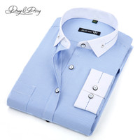 Wholesale Ds Shirt - Wholesale- High Quality Men Shirts Spring Fashion Long Sleeved Male Printing Shirt Dress Brand Casual 2 Colors Camisa Masculina DS-098