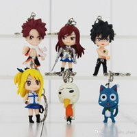 Wholesale Lucy Fairy Tail - Anime Fairy Tail Keychain Natsu   Gray   Lucy   Erza PVC Action Figure Keychain for kids gift Free Shipping retail