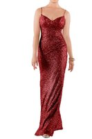Wholesale Elegant Spaghetti Strap Floor Length - 2017 Elegant Bridemaid Dresses Spaghetti Strap Sequins Bridemaid Gowns Mermaid Backless Floor Length Formal Party Dresses