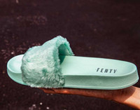 Wholesale Buckle Slides - 2017 New Rihanna Leadcat Fenty fashion Color Slipper Faux Fur Burgundy Slide Slippers Ladies Indoor Purple Pink Sandals