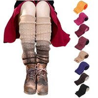 Wholesale Women Cover Leg - Wholesale- Stretchy Fashionable Winter Keep Warming Women Gradually Changing Color Leg Warmer Knitted Cashmere Socks Boot Cover Calcetines
