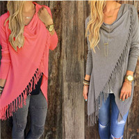 Wholesale Womens Long Sweater Poncho - Wholesale-Womens Capes And Ponchoes 2015 Autumn Winter Women Fashion Candy Colors Tassel Pullovers Plus Size Women Knitted Sweater A1276