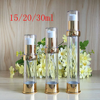 Wholesale lotion bottle pump dispenser - empty gold airless cream pump container travel cosmetic lotion bottle with airless dispenser clear aluminum bottle factory price
