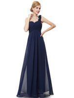 Wholesale Black Dress Shoulder Pads - Sexy Long evening Dresses Ever Pretty Fashion Women Purple Flower One Shoulder Chiffon Padded Bridal 2017