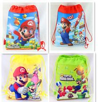 Wholesale Wholesale Mario Bros Birthday - 12Pcs Super Mario Bros Drawstring Bag Cartoon Backpacks Kids School Bags Childrem Birthday Party Favor Shopping Bags Gifts