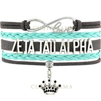 (10 PCS / Lote) Infinity Love Zeta Tau Alpha Crown Charm Mujeres Wrap Pulsera Turquoise Grey Suede Leather Custom any Themes