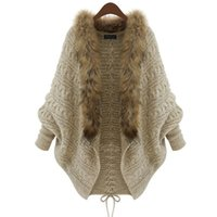 Wholesale Trench Femme - Wholesale-Women Cardigan Wool Sweater Thick Poncho Capes Femme Autumn Winter Bat Sleeve Fur Collar Knitted Long Cardigan Trench 50