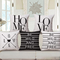 Wholesale love home decor modern quote cushion cover black and white almofada english letter throw pillow case euro cojines