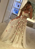 Wholesale Spagetti Prom Dress - New 2017 A-Line Handmade Flowers Prom Dresses With Exposed Boning Spagetti Straps Sheer Corset Prom Gowns Cheap Formal Dresses Evening Wear