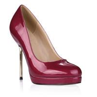 imagem sapatos de couro venda por atacado-Borgonha Sapatos de Couro de Patente Bombas Deslizamento Em Sapatos de Festa de Salto De Metal Imagem Real Sapatos De Casamento De Noiva Sexy Bombas Sandálias