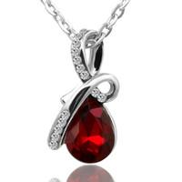 "Wholesale Swarovski Drop Pendant Wholesale - Swarovski Eternal Love Austria Crystal Water-Drop Pendant Come With 20"" Silver Plared Chain Necklace For Women Wedding Jewelry"