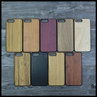 Wholesale Cherry Hard Wood - Real Natural Wood Bamboo Mobile Phone Case For iPhone 7 6 7Plus Hard Wooden Maple Cherry Walnut Rosewood Shockproof PC Back Protective Cover