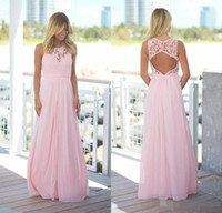 Wholesale Jewel Neck Maxi Dress - Blush Pink Lace Chiffon Beach Bridesmaid Dresses 2017 Sleeveless Jewel Neck Open Back A-line Country Maxi Bridesmaid Dress