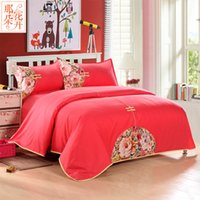 Wholesale Chinese Wedding Beds - 4 Pieces sets Luxury Traditional Chinese Style 100% Cotton Wedding Bedding Sets Red Embroidery Silk Free Shipping