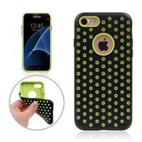 Wholesale Net Hole Iphone - For Iphone 7 Plus Dot Circle Armor Dual Layer Armor Hybrid Hard Plastic+TPU Case Mesh Net Hole ShockProof Defender Rugged Beetle Skin Cover