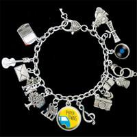 Wholesale Paper Towns - 6pcs Paper Towns Themed graduation laptop camero fish Charm Bracelet silver tone