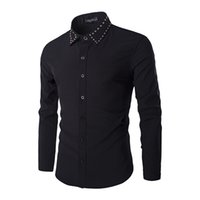 Роскошная мужская рубашка бренда 2017 Spring Design Black Mens Casual Slim Fit Dress Shirts Punk Fashion Rivet Collar Shirt Chemise Homme
