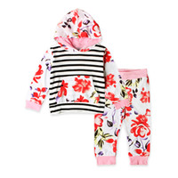 Wholesale Girls Hoody Sets - Girls floral hoodie outfits 2pc set striped flower hoodie+pants kids casual fashion hoody outfits for 1-5T