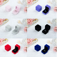 Wholesale Ring Display Velvet - Fashion (Black Red White Grey Blue) Gift Box for Ring Earring Case Holder Jewelry Box, Display Packaging Boxes