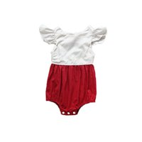 Wholesale Newborn Shower - Polka Dots Baby Girls Clothes Red Cotton Summer Newborn Sunsuit Baby Girls Shower Gift Ruffle Girls Bodysuit