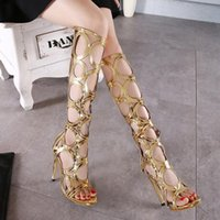Wholesale Gold Gladiator High Heels Boots - black gold sexy women summer knee high boots gladiator rome holes cut out open toe sandals party clubwear shoes pumps high heels