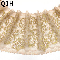 Wholesale Gold Colored Lace Trim - 1y 20cm Width Black Lace Trim Gold Thread Embroidery Beige Lace Ribbon Fabric DIY Sewing Suppies Decoration Garments Accessories
