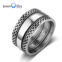 Wholesale Wholesale Sterling Silver Wave Ring - 925 Sterling Silver Women Bali Rings with Double Laces Retro Wave Wide Rings Wedding Jewelry Accessories JewelOra RI102785