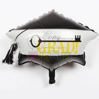globos de graduación al por mayor-Hot 30 unids / lote 53 * 46 cm grad Globo redondo Foil Globos Cara sonriente Doctor Cap Globo Fiesta de graduación Decoración Suministros