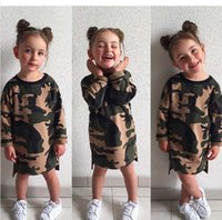 Wholesale Sale Childrens Dresses - Ins Hot sale Kids Clothes camouflage color Girls Dresses Childrens Dresses Casual Toddler Dress Girl Clothes Child Clothing A734