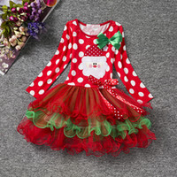 Wholesale Red Ribbon Costumes - Baby Girls christmas red dress costume outfits for toddler little kids children infant X'mas tutu skirts 1-4T babies holiday dresses up