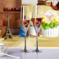 Wholesale Heart Champagne Flutes - heart shape champagne glasses wedding wine glass toasting flutes party celebration goblets birthday and lovers gifts
