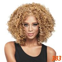 выбрать стороны оптовых-Дешевые парик мода короткие Боб афро вьющиеся пушистые синтетические волосы парики сторона взрыва парик для женщин 4 цвета выбрать